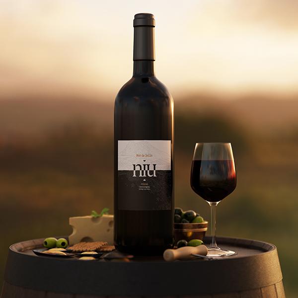 Vino Mas de Sella niu y copa de vino
